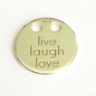 Sterling Silver Live Laugh Love Disc Charm